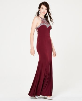 8ceb4426831 Say Yes to the Prom Juniors  Embellished Halter Gown in 2019 ...