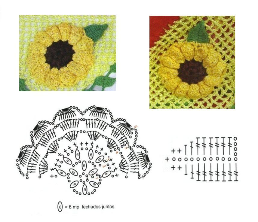 Flores de girasoles tejidas a crochet | Crochet | Pinterest ...