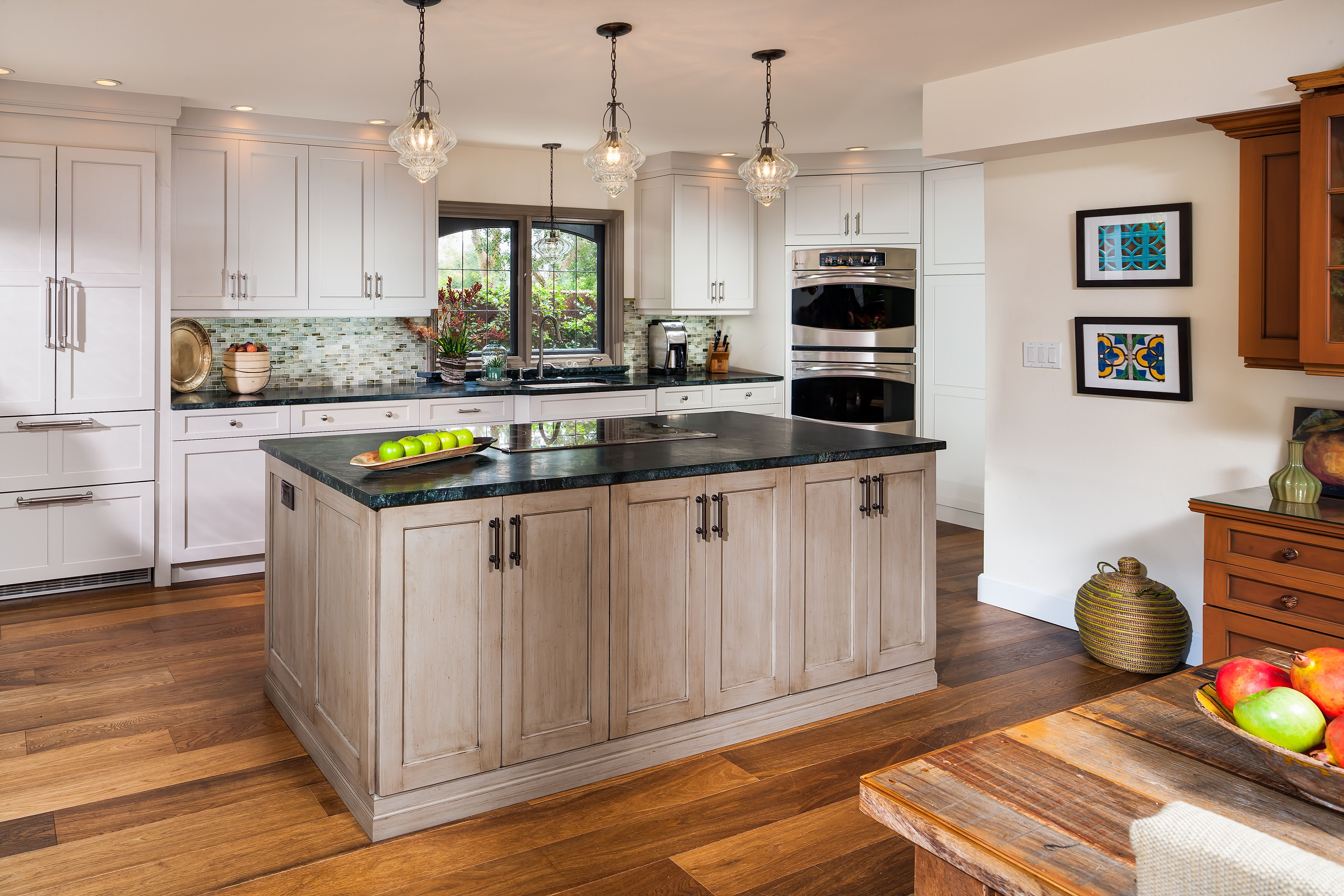 """""""cool like an ocean breeze"""" this light airy kitchen would"""