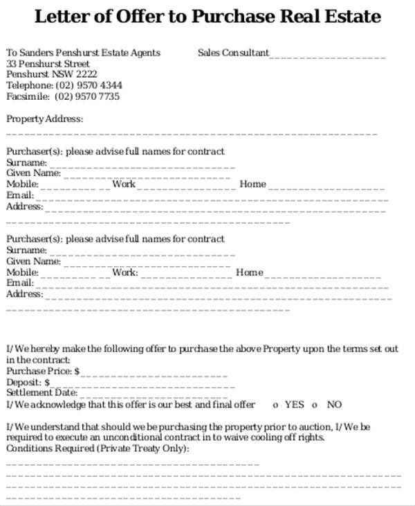 real estate offer letter template free word pdf format business - real estate offer letter
