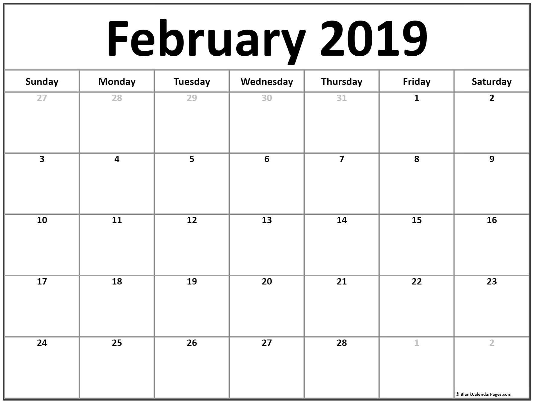 Printable Calendar Pages February 2019 Blank February 2019 Calendar | Free Printable Monthly Calendar