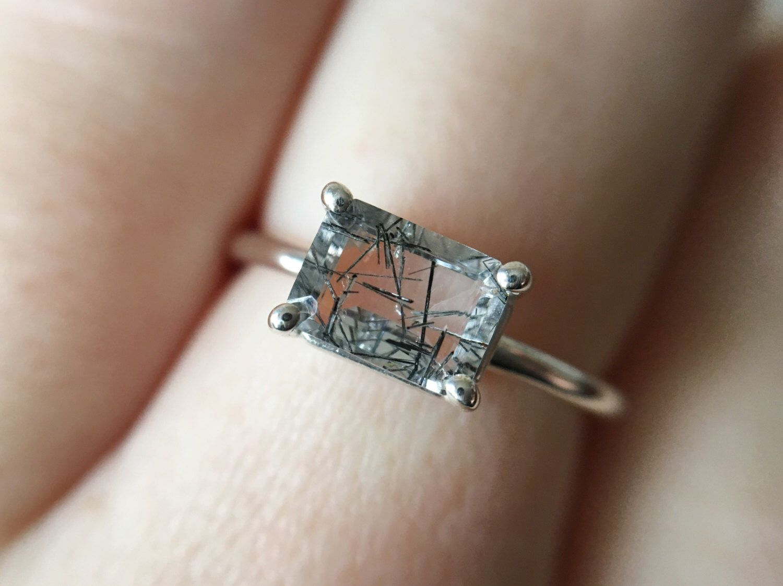 Emerald Shaped Black Tourmalated Quartz Black Rutilated Quartz Ring Tourmalinated Quartz Ring Emerald Cut Rutilated Quartz Engagement Ring