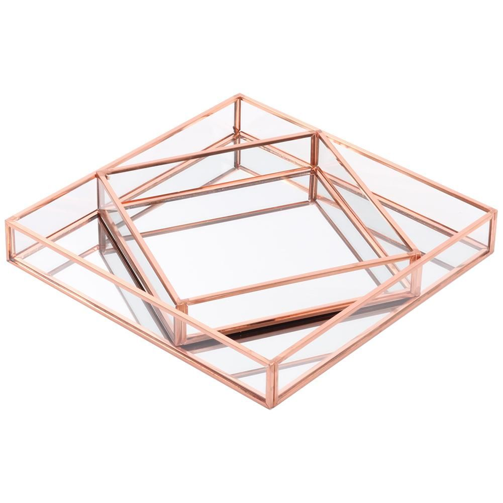Glass Mirror Square Trays Vanity Set In 2020