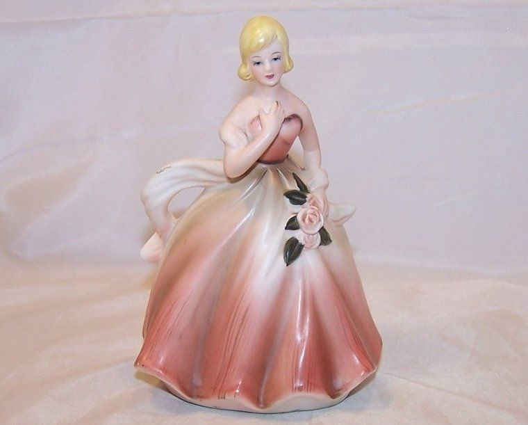 Lady In Ball Gown W Roses Vintage Planter Napcoware Vintage Planters Vintage Ball Gowns
