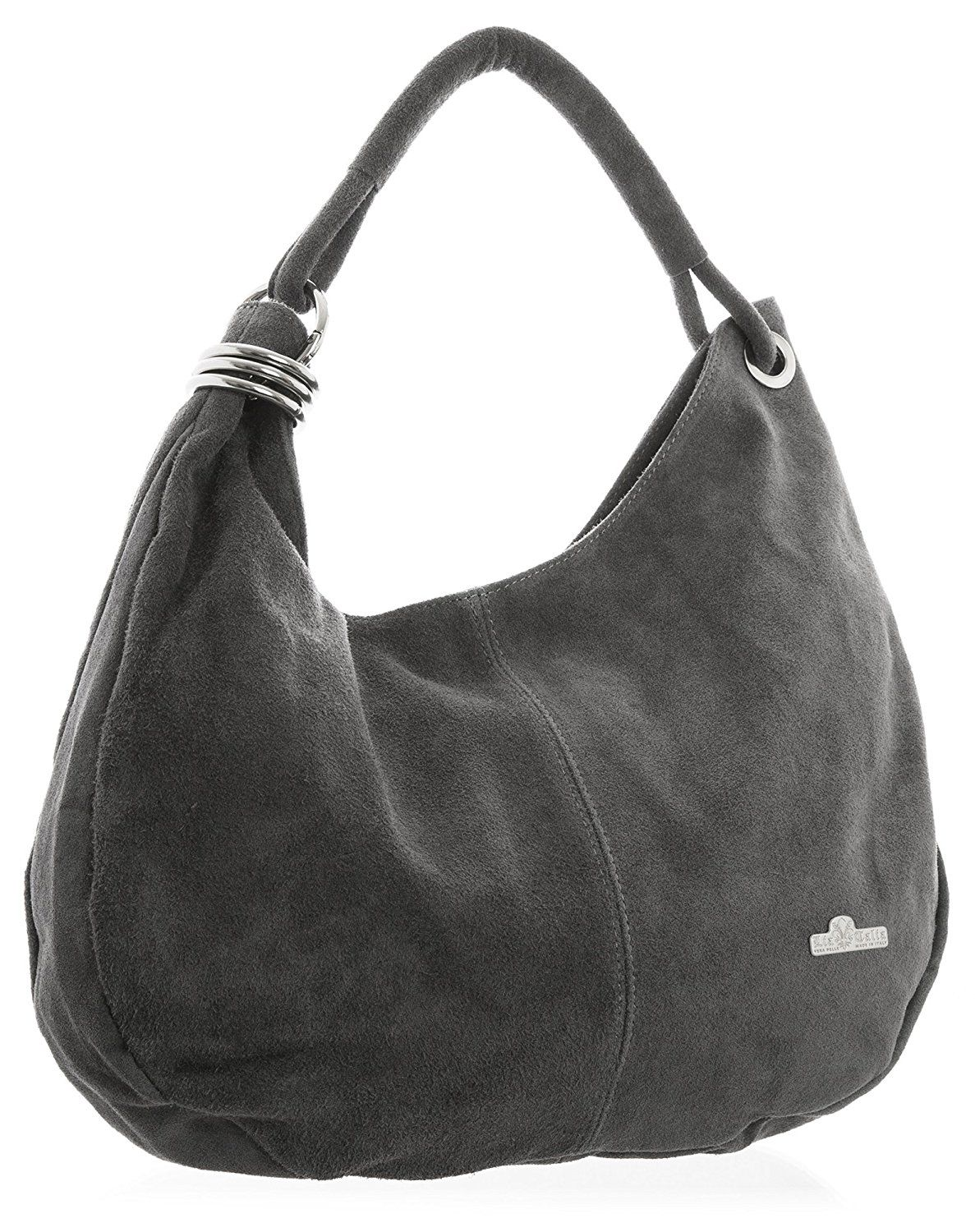 37fcc3ba7146 LiaTalia Large Real Italian Suede Leather Single Strap Hobo Slouch Bag with  Protective Storage Bag – Fiona