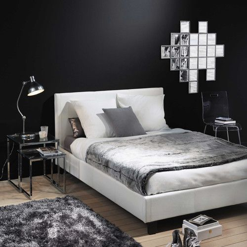 Cama con somier de láminas 140 x 190 blanco | Cuero blanco, Somier y ...