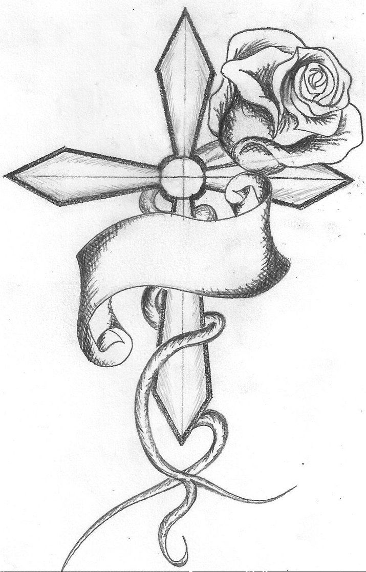 how to draw a cross cross with rose by skatenapper on