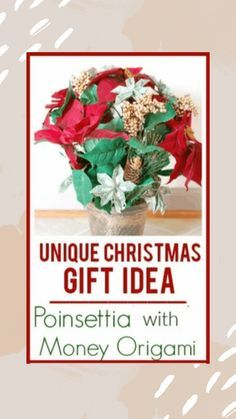 Create a unique gift idea by making flower origami using money! Perfect gift for a dinner party gift for your neighbor work gift exchange or secret santa gift! #uniquegift #christmasgift #origami #poinsettia #uniquechristmasgift #moneyorigami  Create a unique gift idea by making flower origami using money! Perfect gift for a dinner party gift for your neighbor work gift exchange or secret santa gift! #uniquegift #christmasgift #origami #p #secretsantaideasforwork