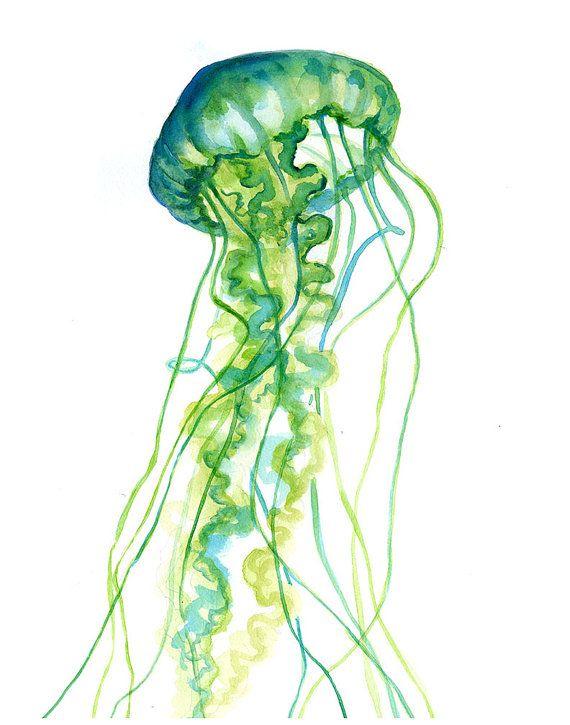 Green Jellyfish Watercolor Print - Fun - Colorful Art - Painting ...