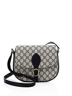 0013207515d Gucci - Small Leather   Canvas Logo Print Saddle Bag