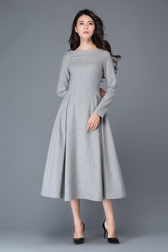 421f7b12f14f3 womens dress, wool dress, winter dress, gray wool dress, boat neck dress, wool  dress woman, long woo