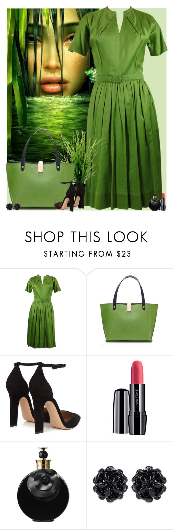 """""""Bez naslova #3220"""" by gita016 ❤ liked on Polyvore featuring Claire McCardell, Gianvito Rossi, Lancôme, Valentino and Simone Rocha"""