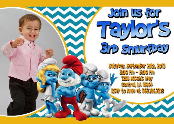 Smurfs Birthday Party Invitation Printable By Funpartyinvitation