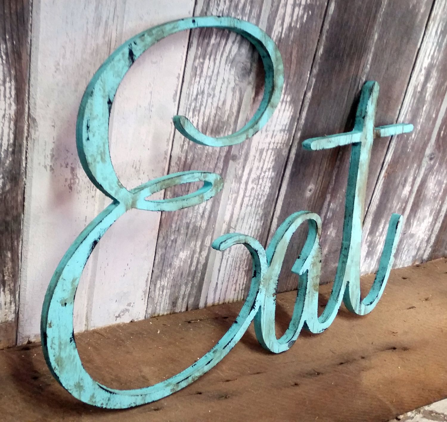 50 Farmhouse Style Gift Ideas From Etsy: Rustic EAT Sign Shabby Chic Aqua Wall Hanging Home Decor