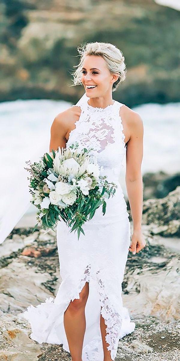 51 Beach Wedding Dresses Perfect For Destination Weddings Wedding Dress Train Sweep Train Wedding Dress Beach Wedding Dress