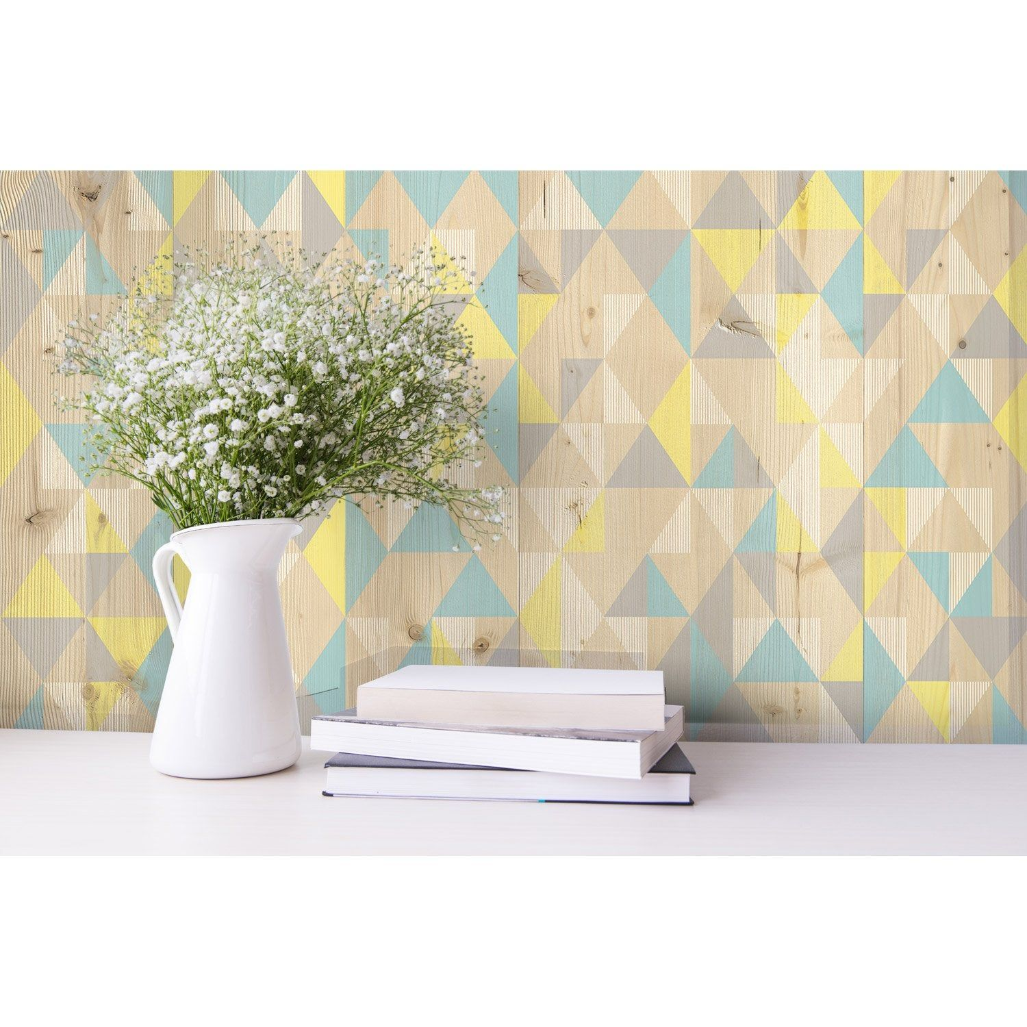 Lambris Pvc Decor Mural Bleu Jaune L 260 X L 37 5 2 925m Leroy Merlin Parement Mural Lambris Pvc Decoration Murale