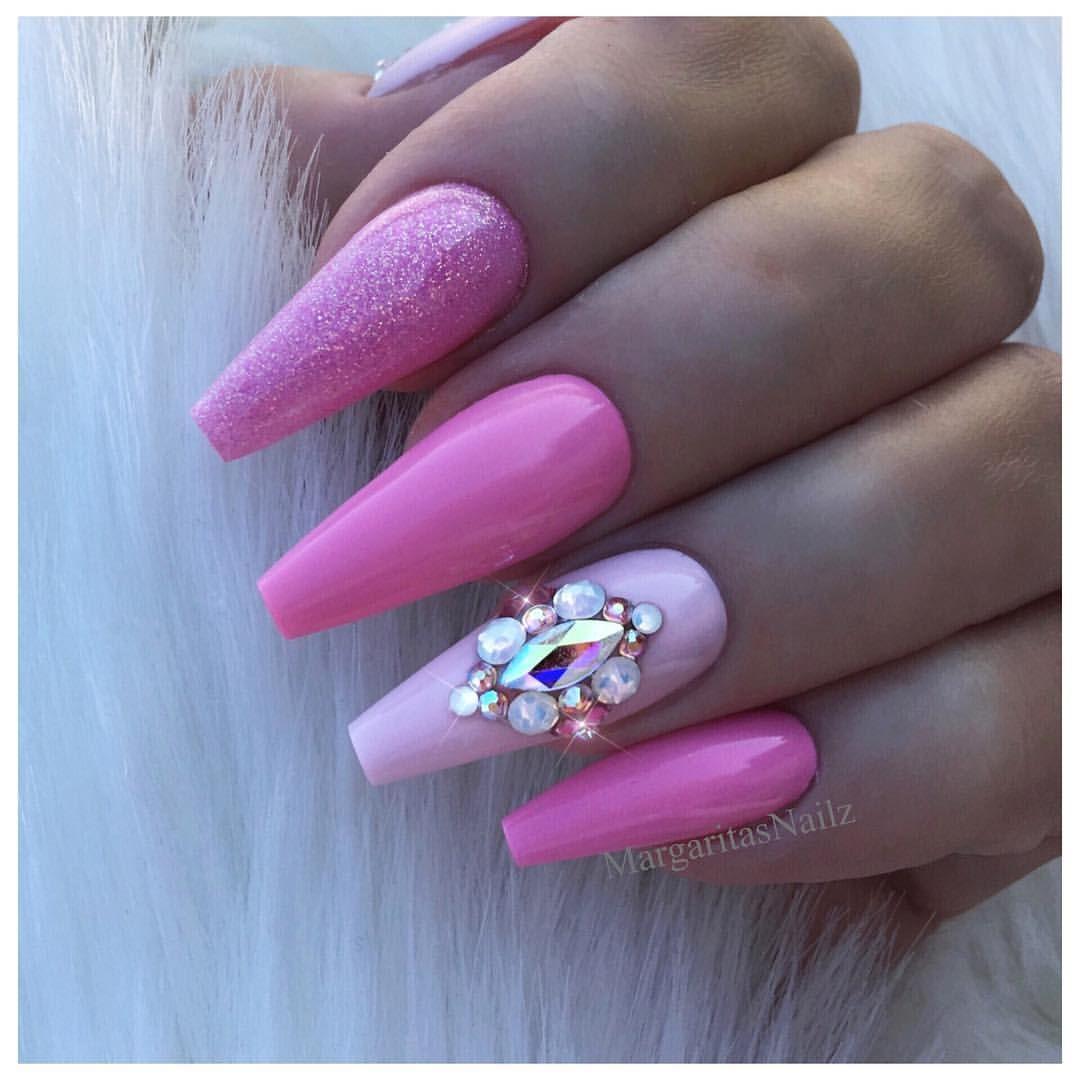 Pink coffin nails swarovski design glitter nail art baby pink pink coffin nails swarovski design glitter nail art baby pink barbie nails colors prinsesfo Gallery