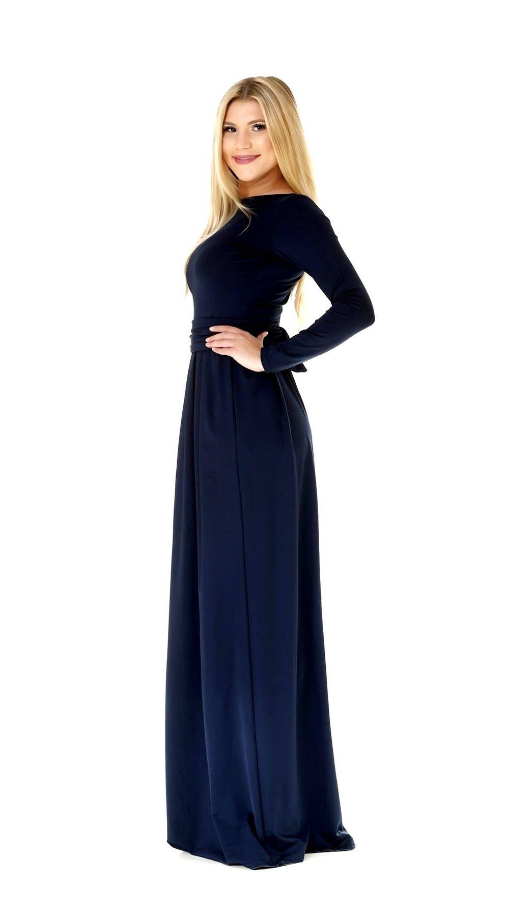 eb4c1b3bba7 Navy Blue Maxi Dress/ Long Sleeves Dress With Pockets Sash in 2019 ...