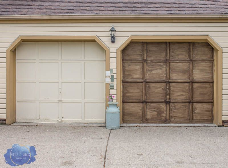 Faux Finishing A Garage Door To Look Like Wood With Images Garage Door Makeover Cheap Garage Doors Door Makeover