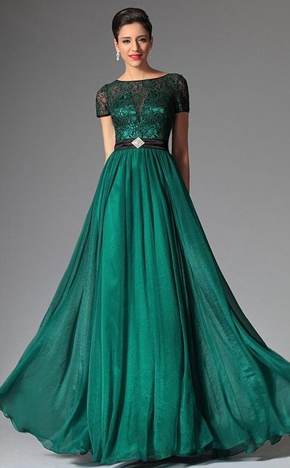 Dark Hunter Green Bateau Neckline Long Chiffon Lace Bridesmaid