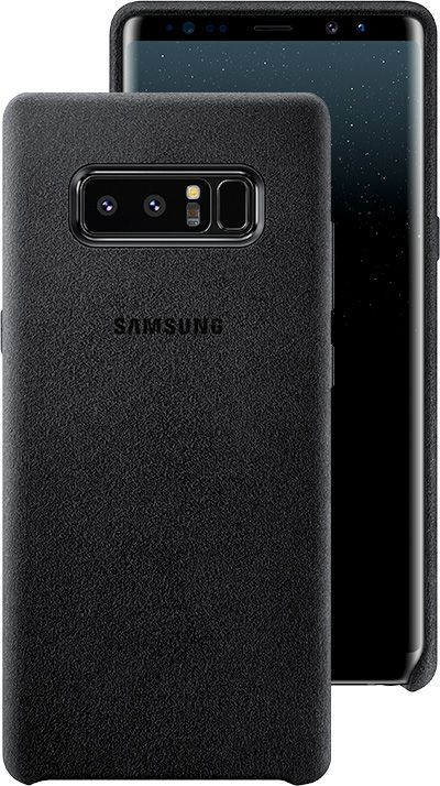 Front and back view of the Galaxy Note8 in the Alcantara