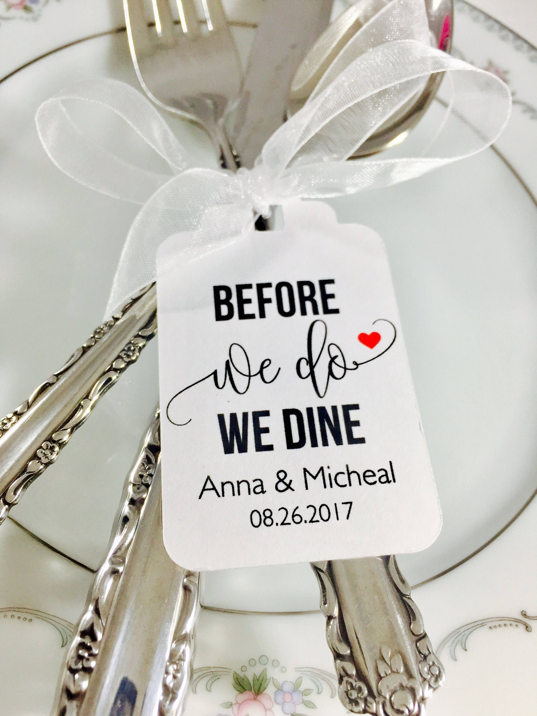 Wedding Rehearsal Dinner, Before We Do We Dine, Silverware Tags ...