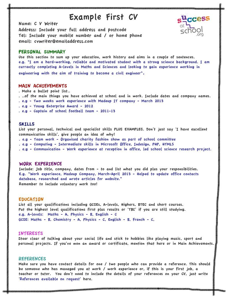 Skill Up My First CV Template Job resume template