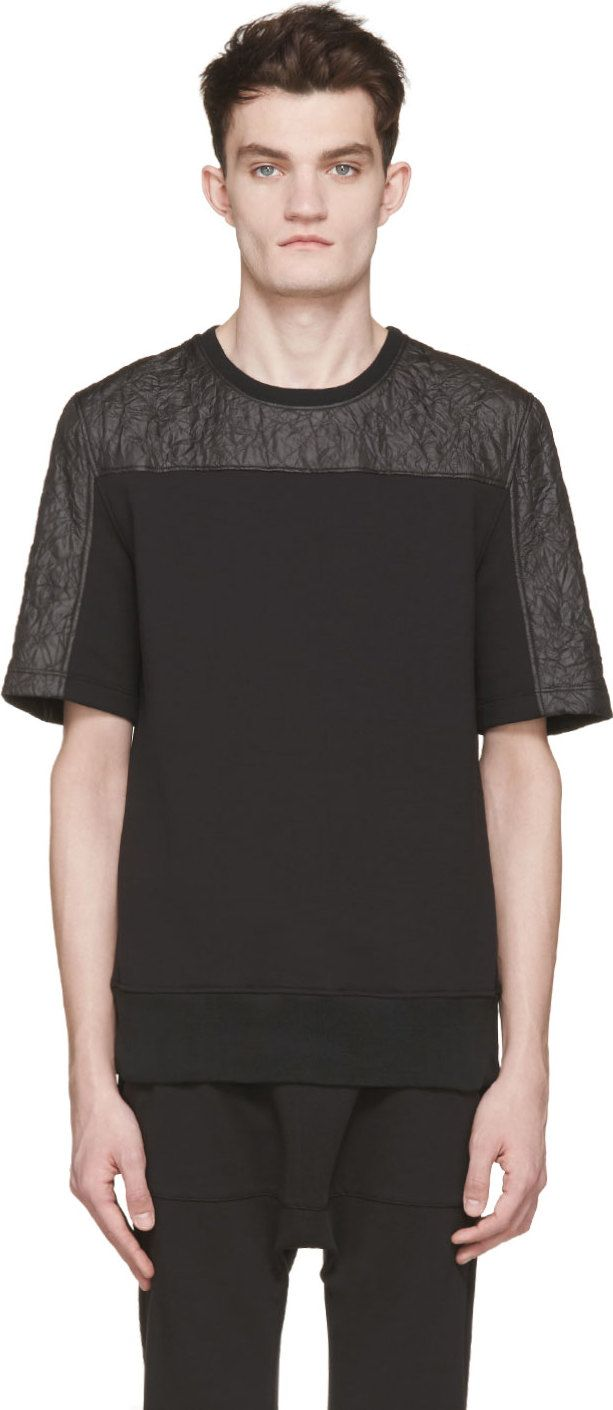 Black quilted t shirt - Helmut Lang Black Nylon Jersey Quilted T Shirt
