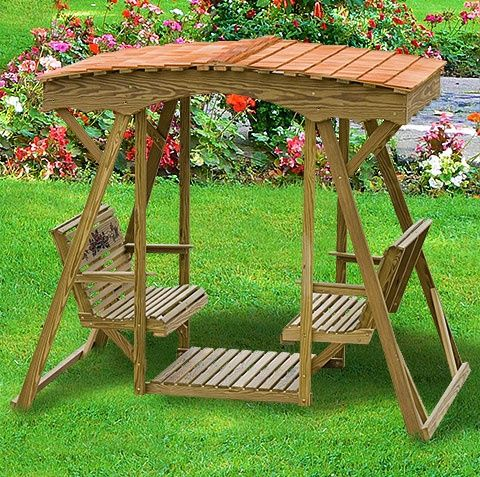 Amish Outdoor Swing Roof Wooden Swing Outdoor Glider Swing Seat