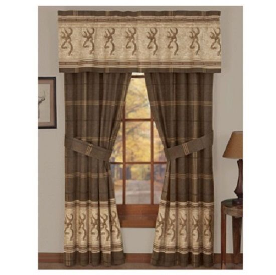"BROWNING BUCKMARK Valance/Drape Set  -Hunting Cabin Window Treatment -Length 84"" #BROWNING #HuntingLodgeCabinRanchWildlife"