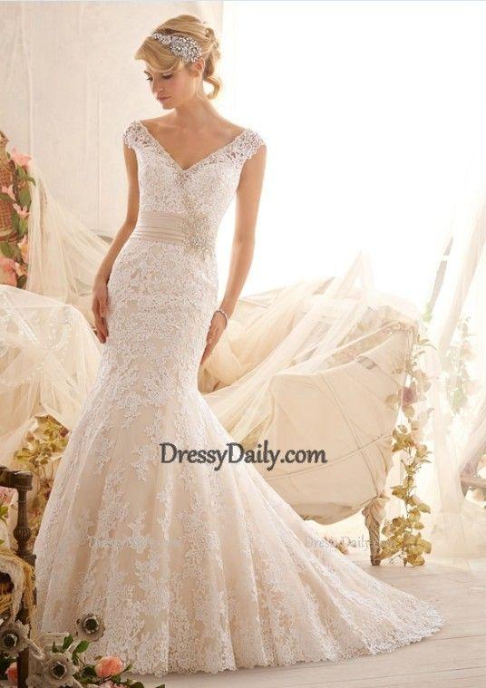 Gorgeous Mermaid V Neck Lace With Beaded Waist Wedding Dress - Wedding Dresses - Weddings:  Belongs in a Top 10 of romantic elegance