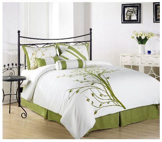 Flocking Green Tree On White Comforter Set Green Bedding Lime