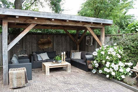Afdak in de tuin tuin pinterest tuin tuinhuis en buiten - Pergola dak platte ...