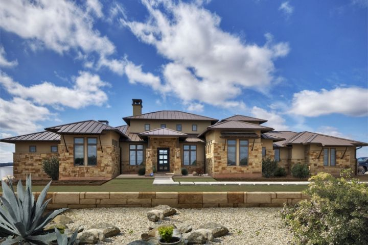 Hill country contemporary exterior stucco stone metal for Hill country home builders