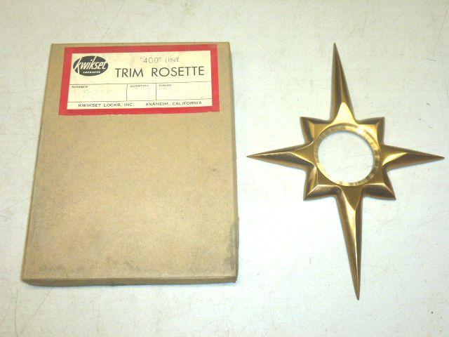 NOS VTG TRIMCO 100 STARBURST DOOR ESCUTCHEON SCHLAGE FLAT BLACK CAST