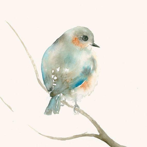 Aquarell Original Zarter Blauer Vogel Von Dearpumpernickel Auf