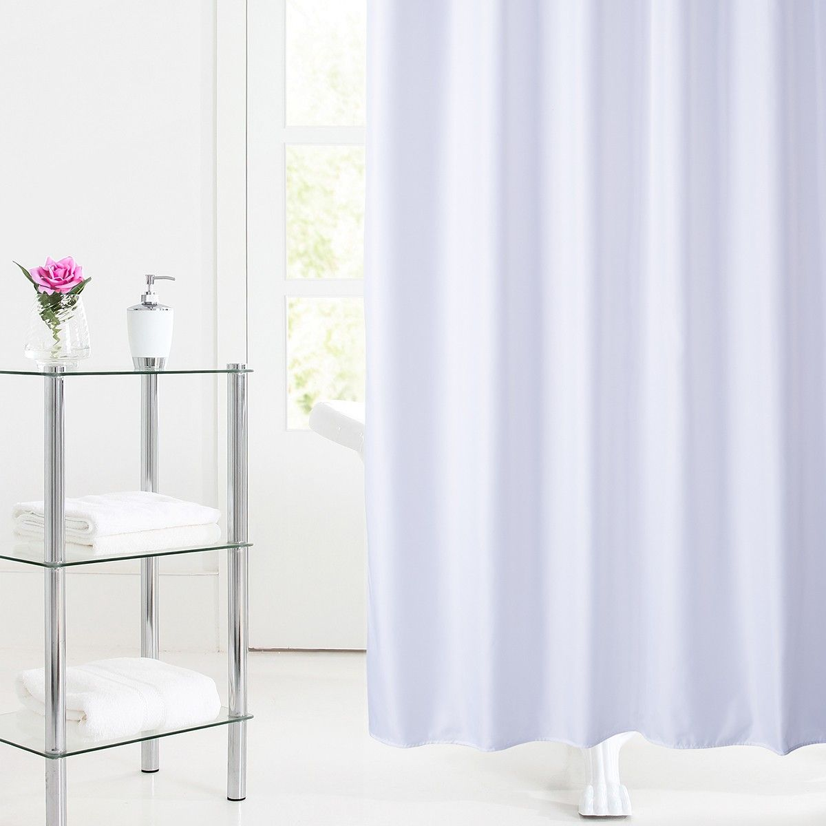 Dryna Shower Liner White Hookless Shower Curtain Curtains