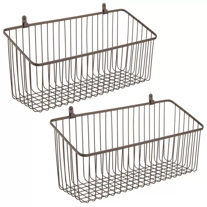 Mdesign Metal Wall Mount Hanging Basket For Home Storage Target In 2020 Mdesign Hanging Baskets Metal Walls