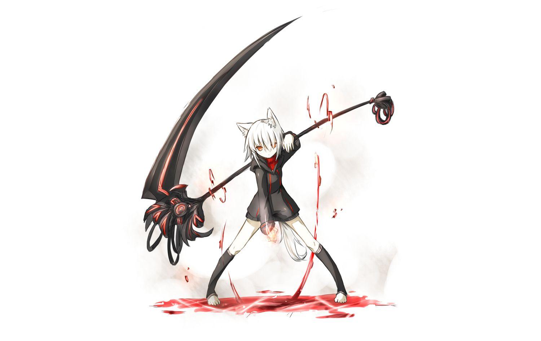 Girl with scythe cute anime girl white hair black dress - Anime scythe wallpaper ...