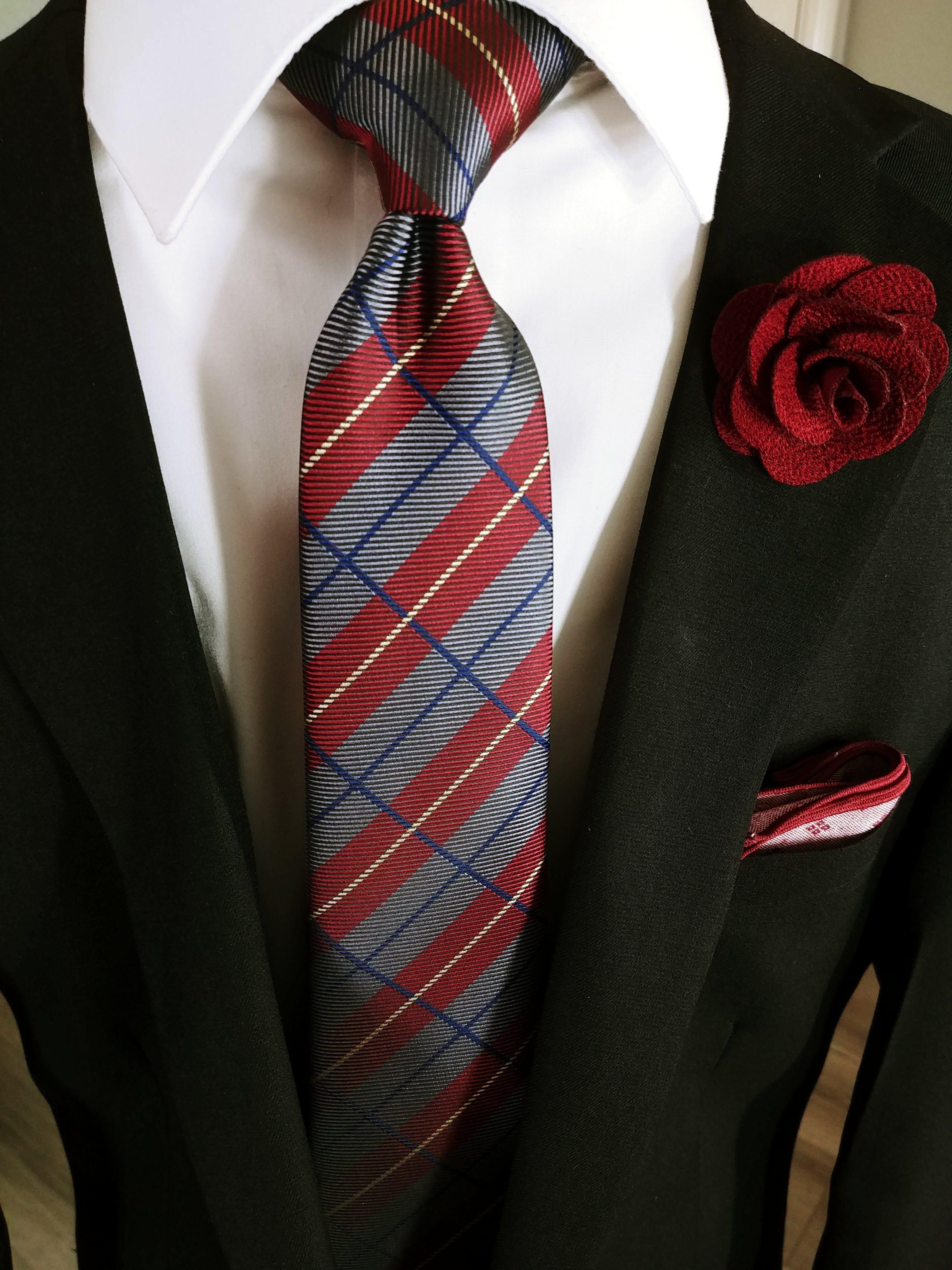 Red Tie Grey and White Stripe Patterned Handmade 100/% Silk Necktie 8cm Width