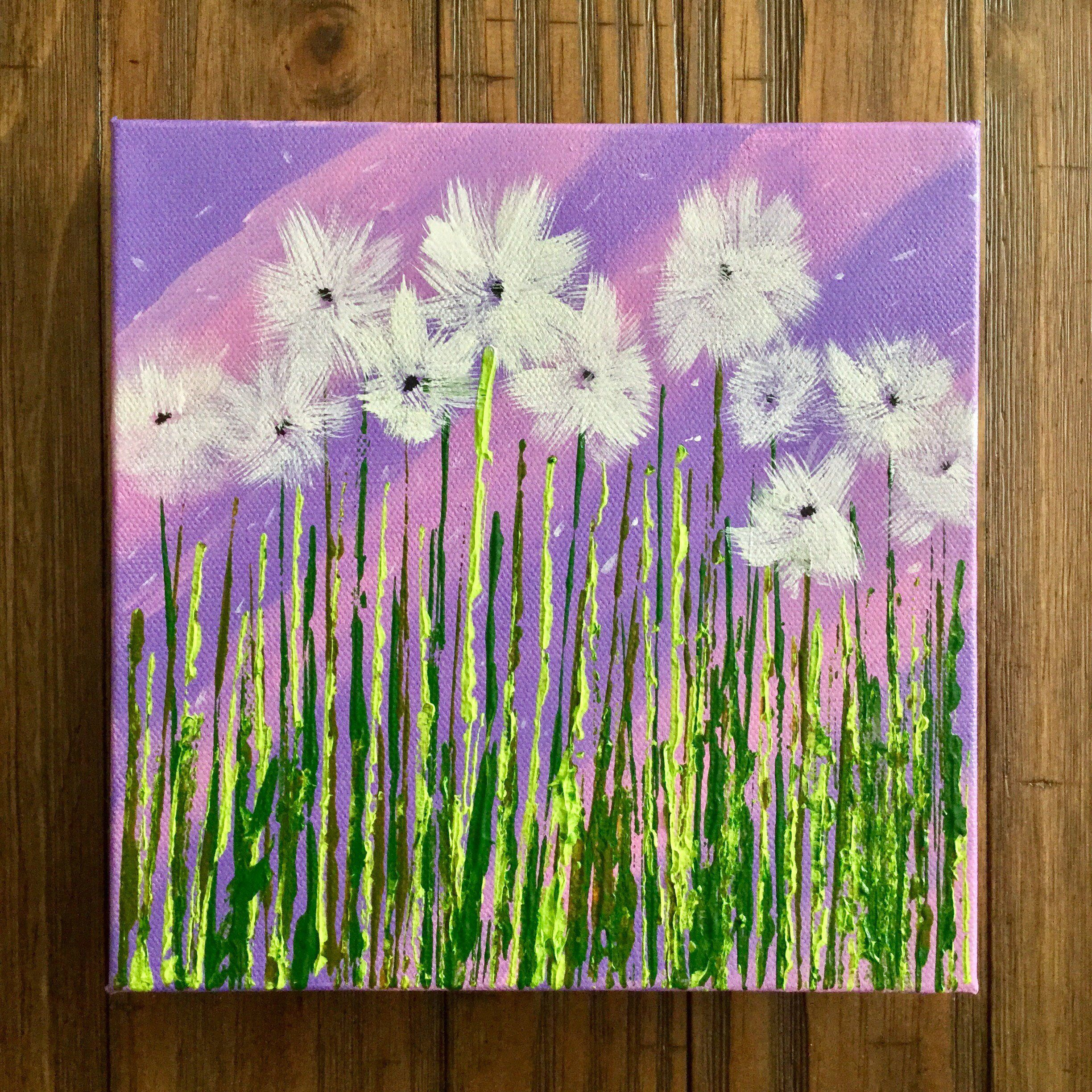 Textured Dandelion Painting