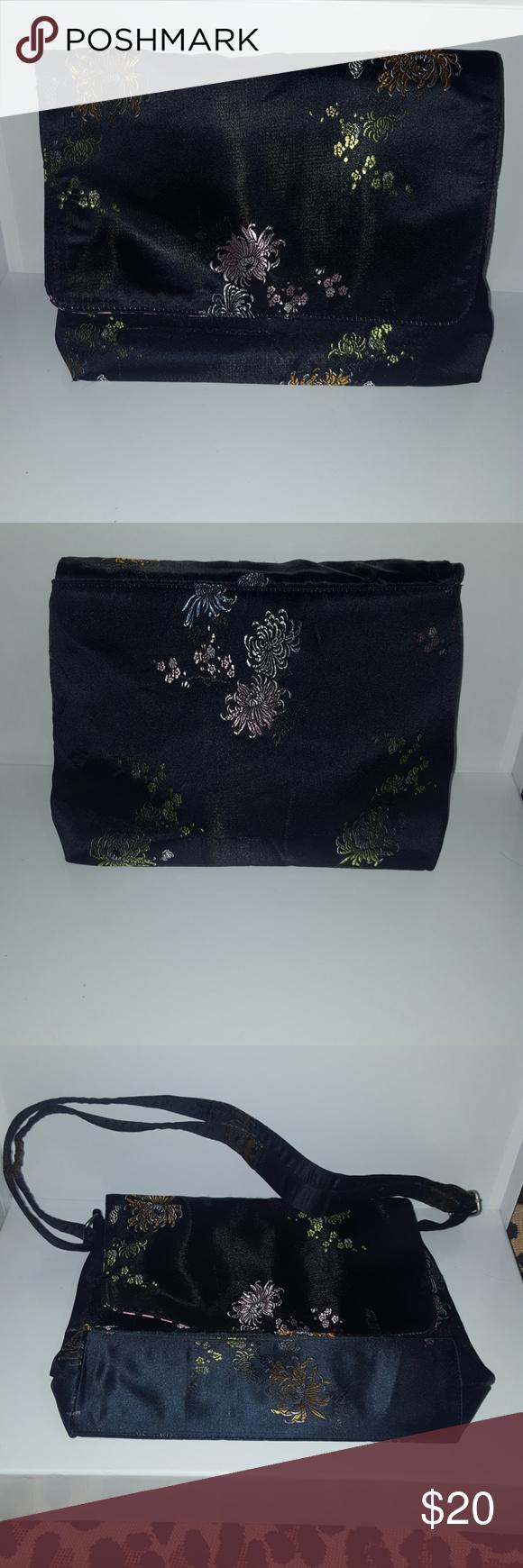 black silk purse Super cute black Chinese design silk purse Bags