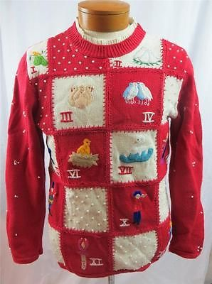 Ugly Christmas Sweater 12 Days Of Christmas Theme Dove Swan Ring Red