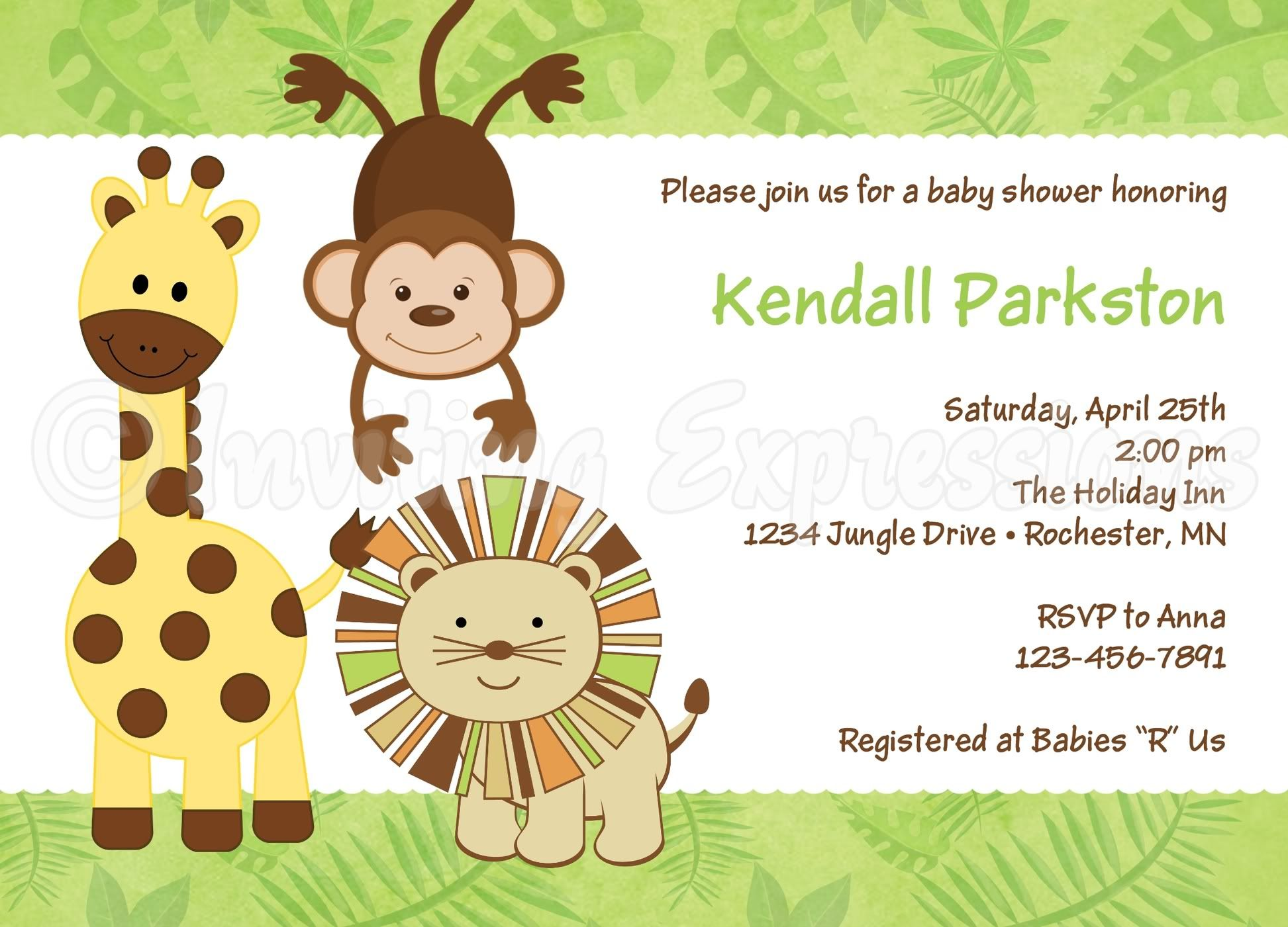 Jungle Animals Baby Shower Invitations | Shower invitations and Babies
