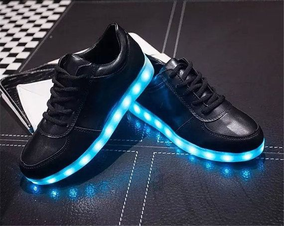 discount lowest price under 70 dollars PU Leather Lights Up Led Luminous Casual Shoes - Black 44 purchase for sale g6fsDdm4c
