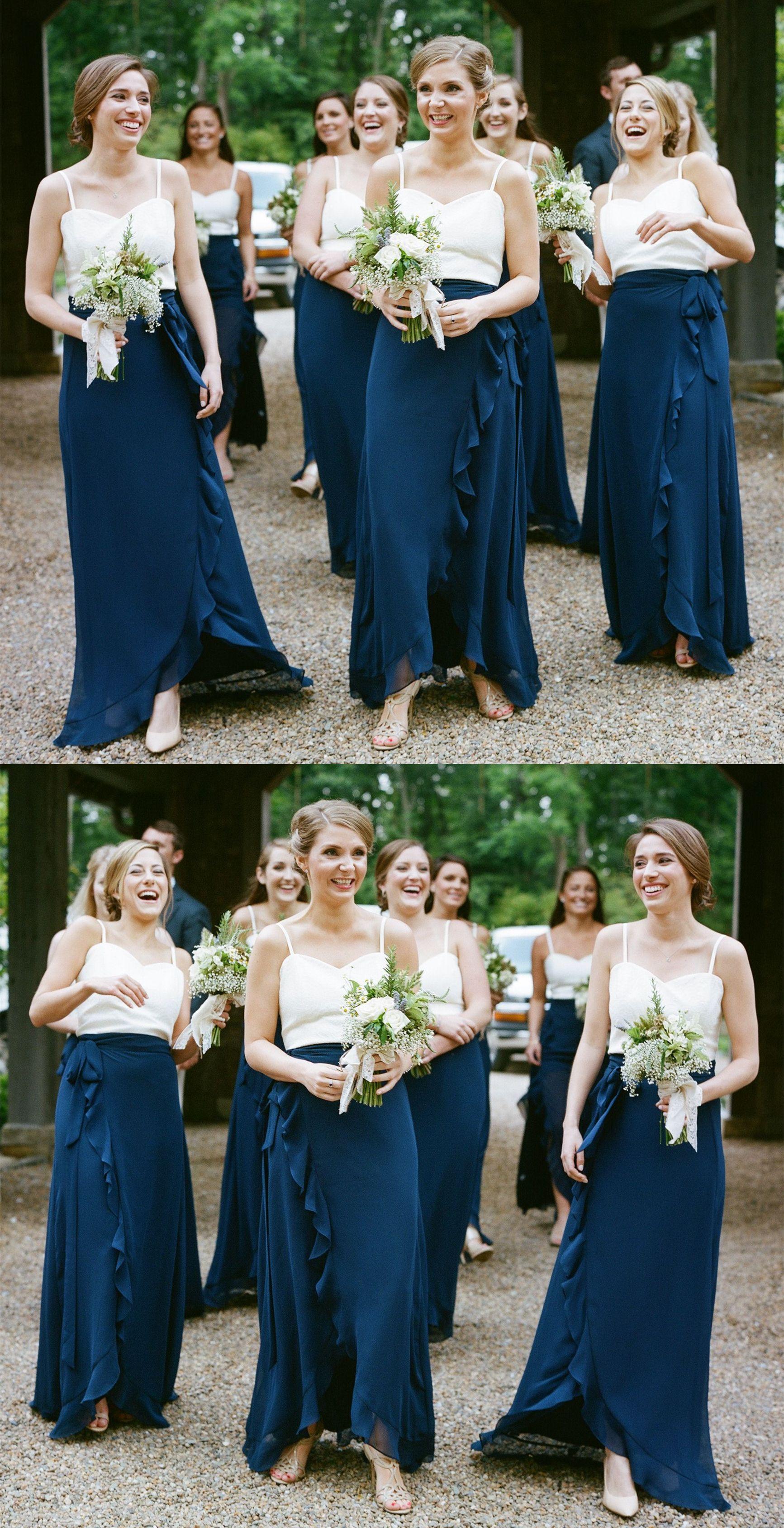 Aline spaghetti straps dark blue bridesmaid dress with ruffles