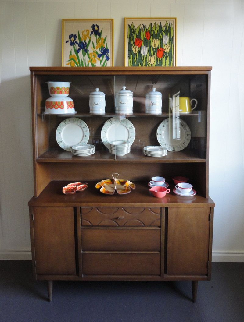 Room Mid Century China Cabinet Hutch Vintage Bassett