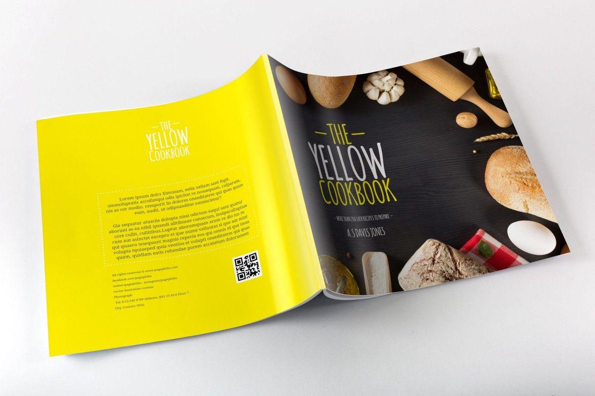 Yellow Cookbook Free Bakery CookBook Template For InDesign - Indesign cookbook template free