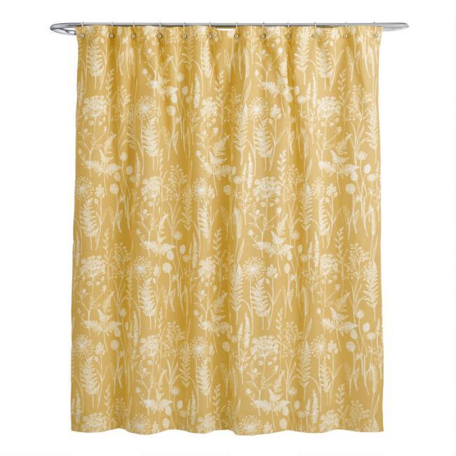 Mustard Yellow Botanical Wildwood Shower Curtain In 2020 Yellow