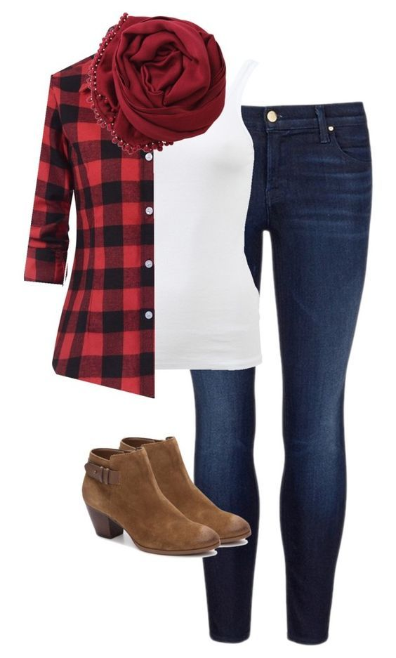 Fall Outfits Plaid Shirt Red Scarf Fall Outfits